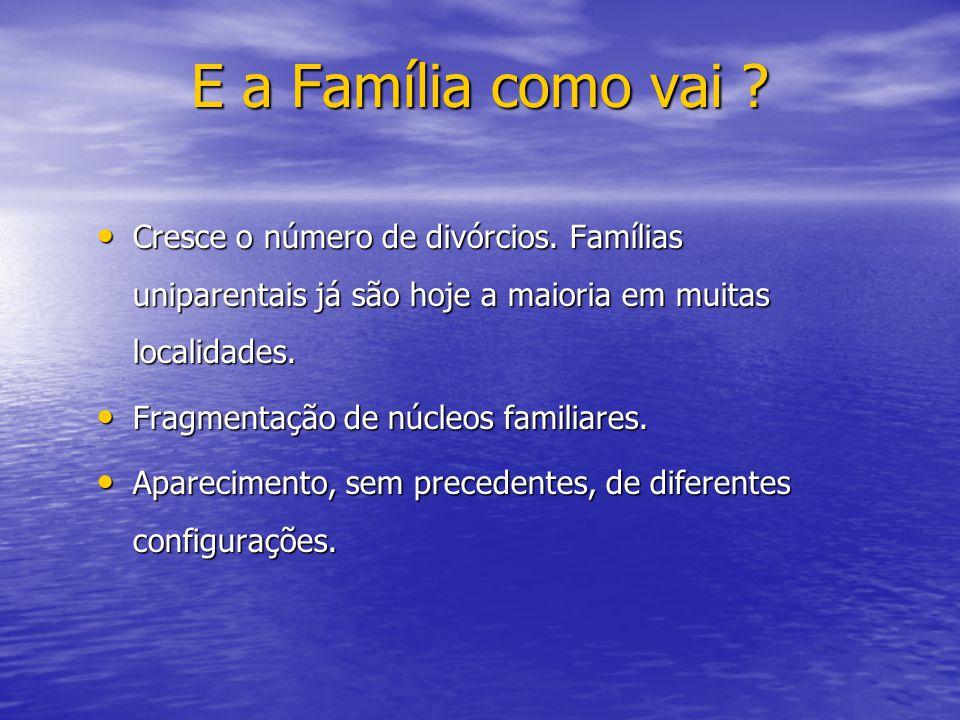 E a Família como vai Cresce o número de divórcios. Famílias uniparentais já são hoje a maioria em muitas localidades.