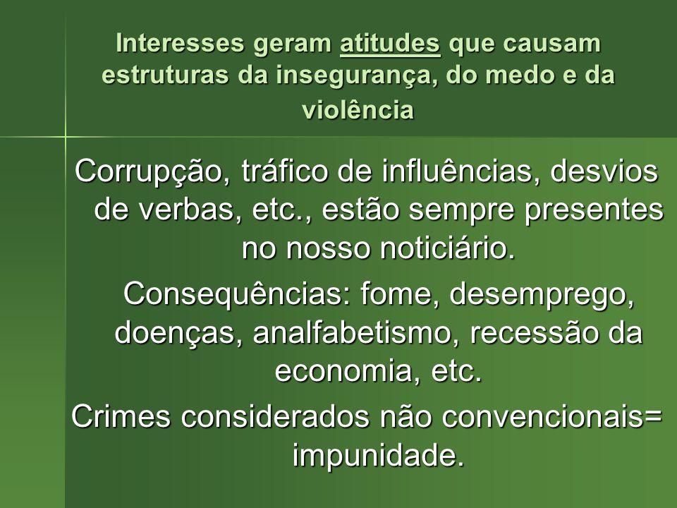 Crimes considerados não convencionais= impunidade.