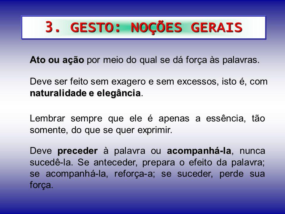 3. GESTO: NOÇÕES GERAIS Ato ou ação por meio do qual se dá força às palavras.