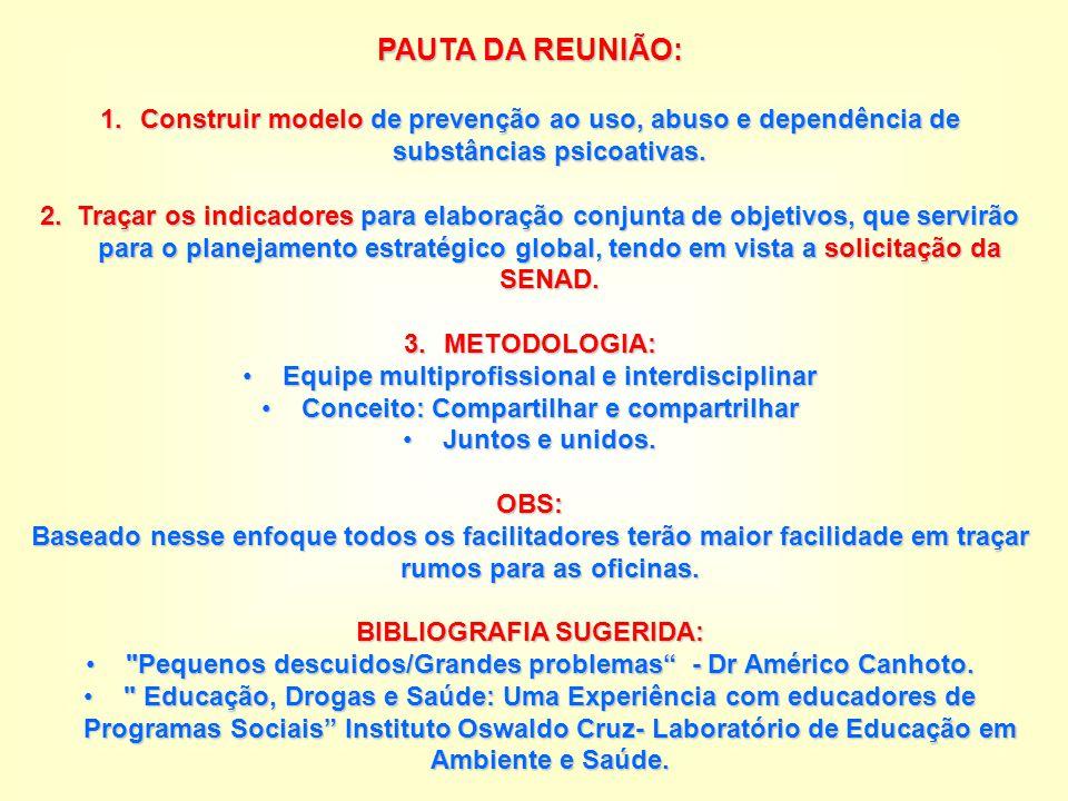 PAUTA DA REUNIÃO: Construir modelo de prevenção ao uso, abuso e dependência de substâncias psicoativas.