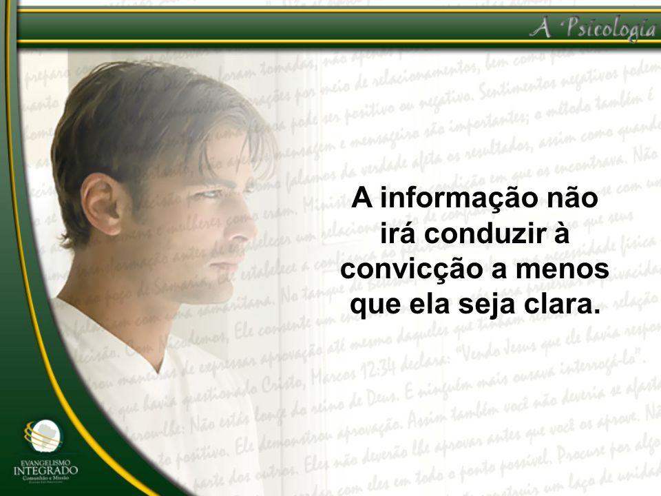 A informação não irá conduzir à convicção a menos que ela seja clara.