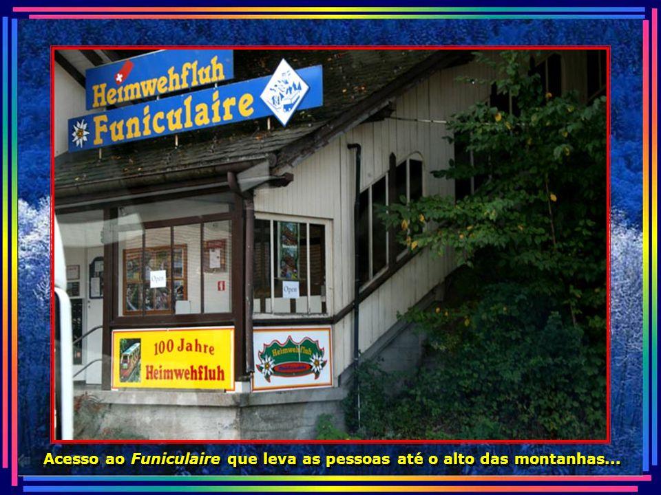 Acesso ao Funiculaire que leva as pessoas até o alto das montanhas...