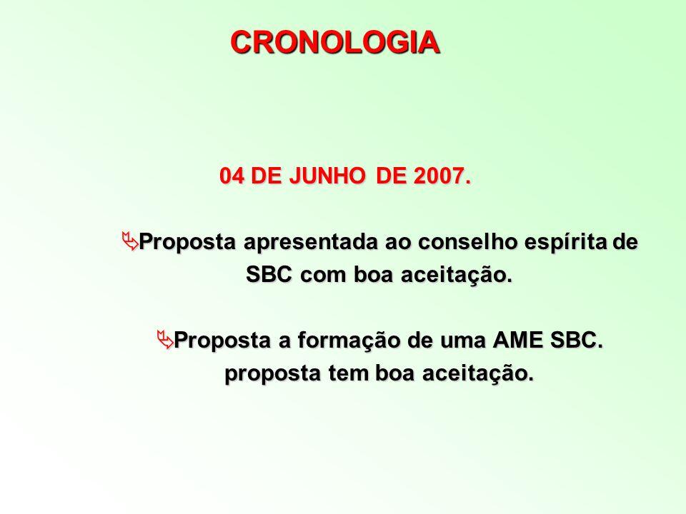 CRONOLOGIA 04 DE JUNHO DE 2007. Proposta apresentada ao conselho espírita de SBC com boa aceitação.