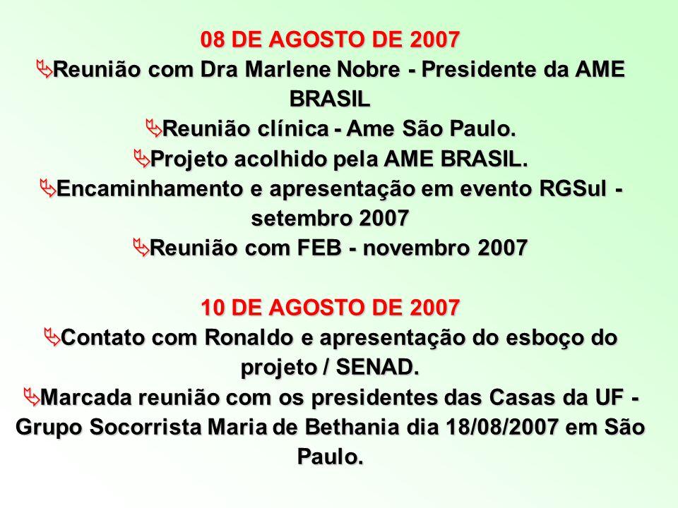 Reunião com Dra Marlene Nobre - Presidente da AME BRASIL