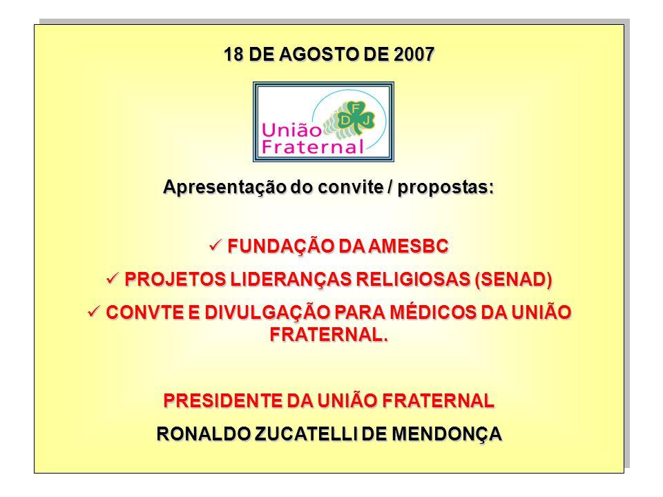 Apresentação do convite / propostas: