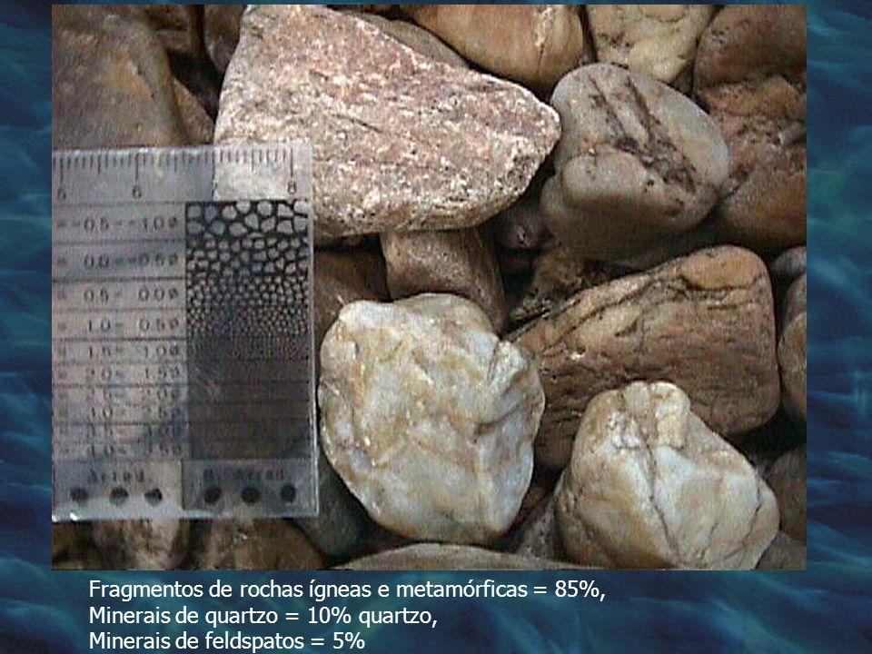 Fragmentos de rochas ígneas e metamórficas = 85%, Minerais de quartzo = 10% quartzo, Minerais de feldspatos = 5%