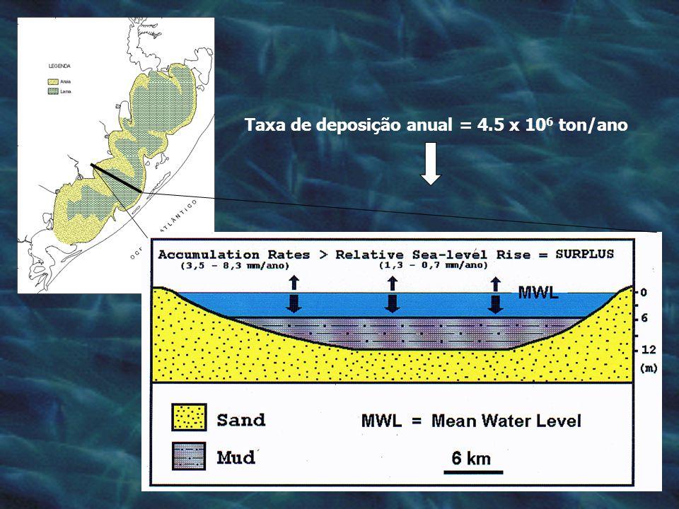 Taxa de deposição anual = 4.5 x 106 ton/ano