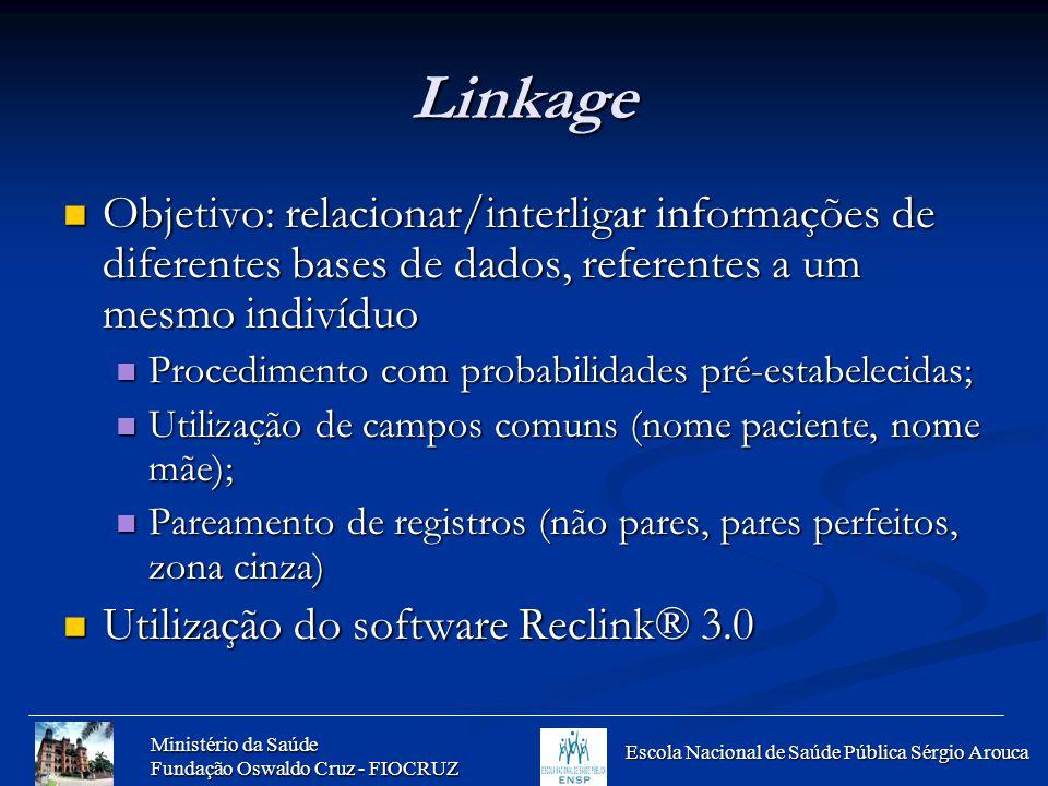 Linkage Objetivo: relacionar/interligar informações de diferentes bases de dados, referentes a um mesmo indivíduo.