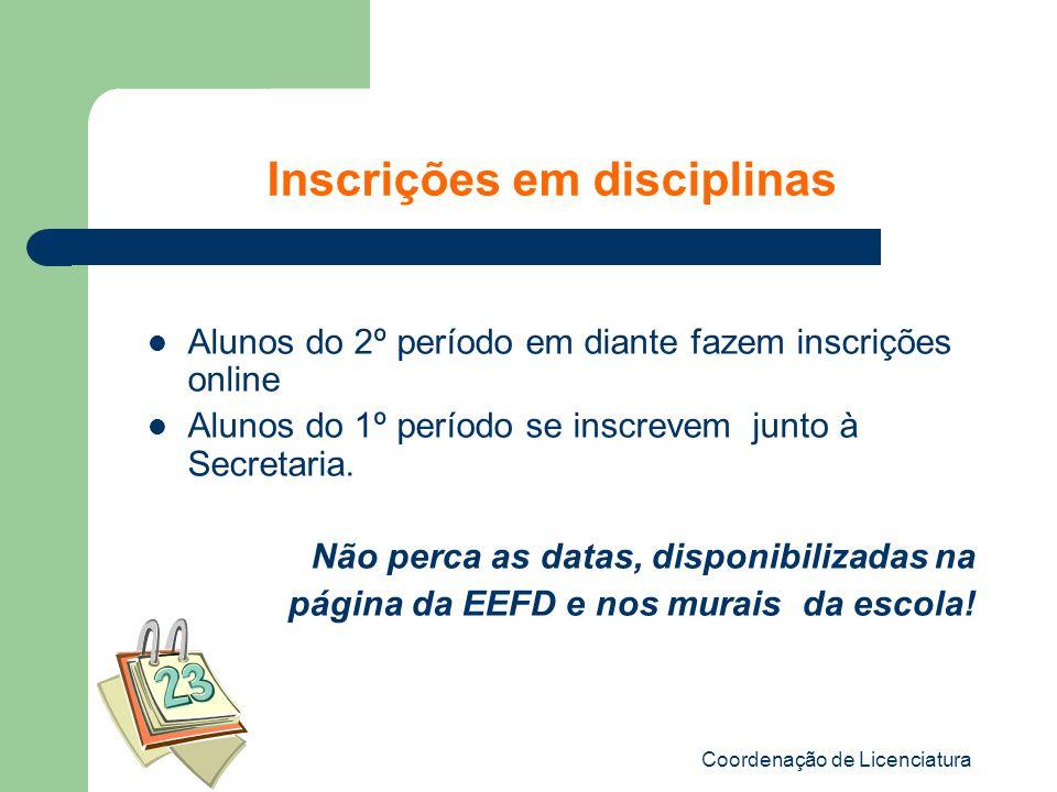 Inscrições em disciplinas