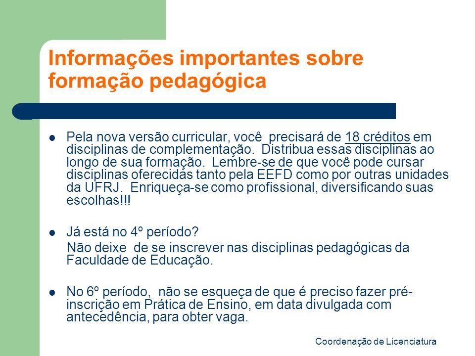 Informações importantes sobre formação pedagógica