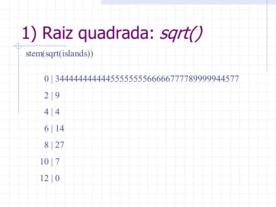 1) Raiz quadrada: sqrt()