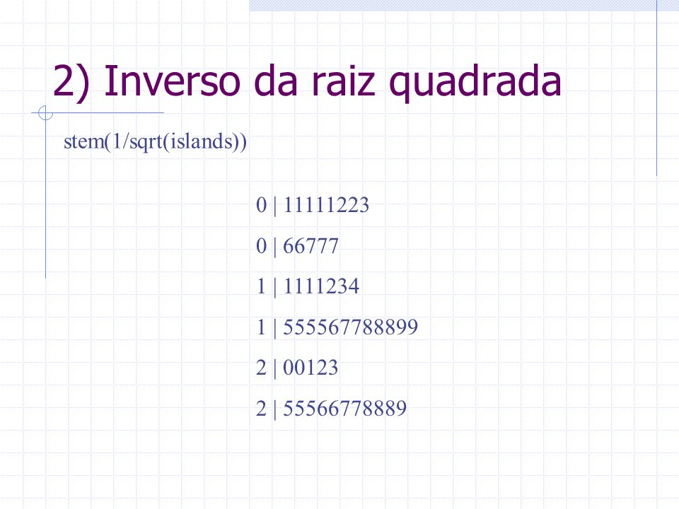 2) Inverso da raiz quadrada
