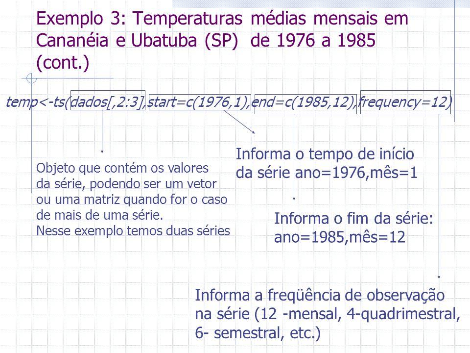 Exemplo 3: Temperaturas médias mensais em Cananéia e Ubatuba (SP) de 1976 a 1985 (cont.)
