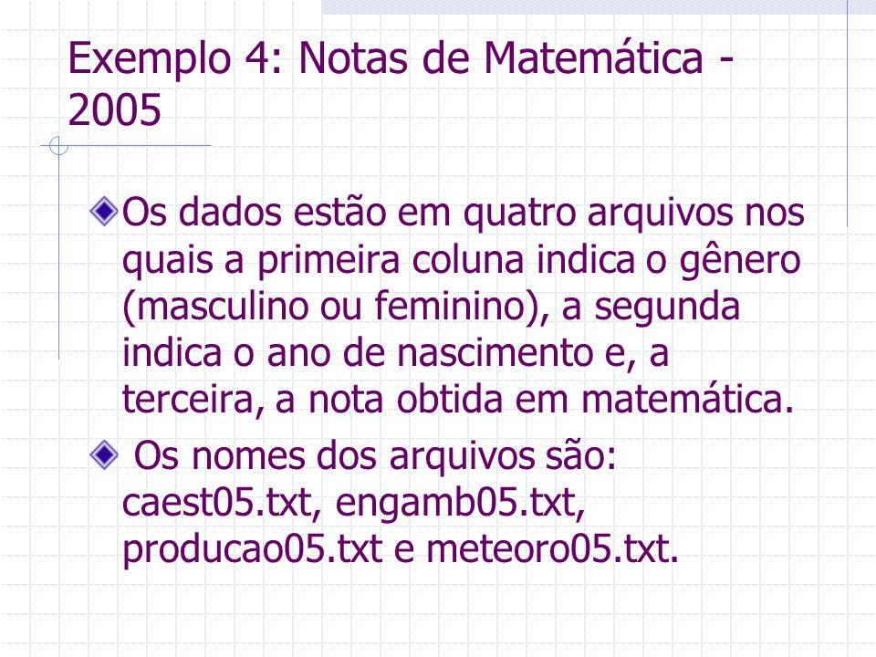 Exemplo 4: Notas de Matemática - 2005