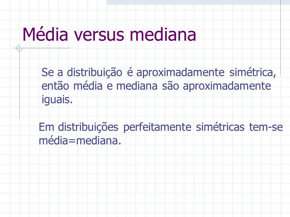Média versus mediana Se a distribuição é aproximadamente simétrica,