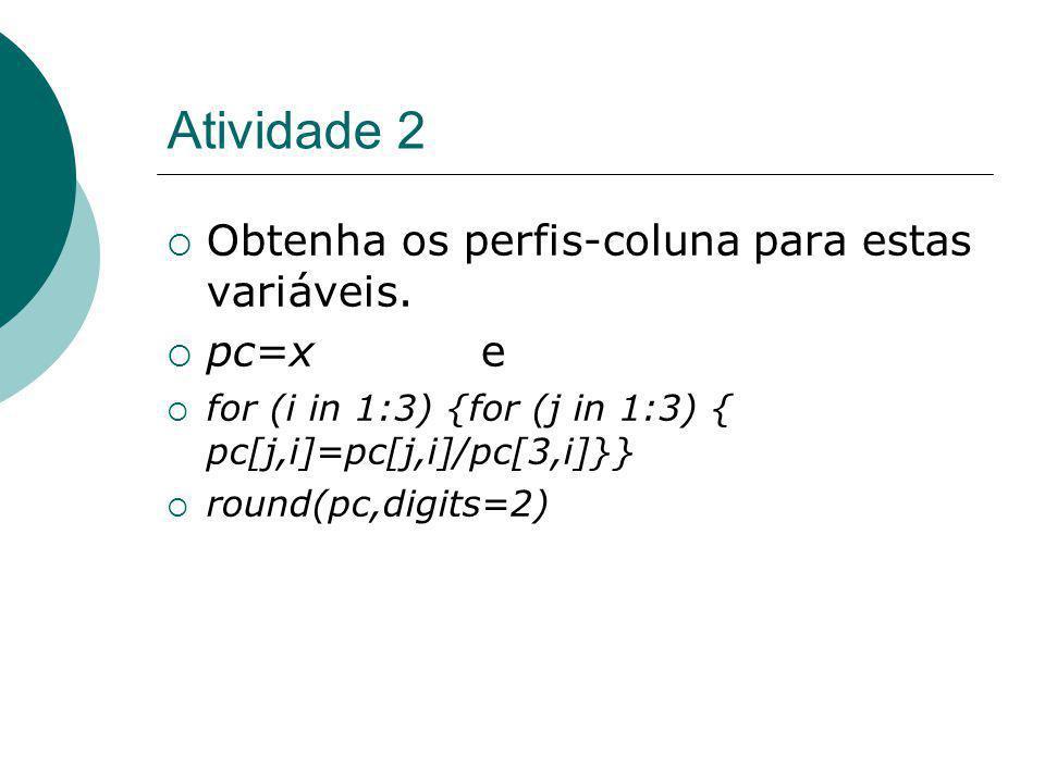Atividade 2 Obtenha os perfis-coluna para estas variáveis. pc=x e