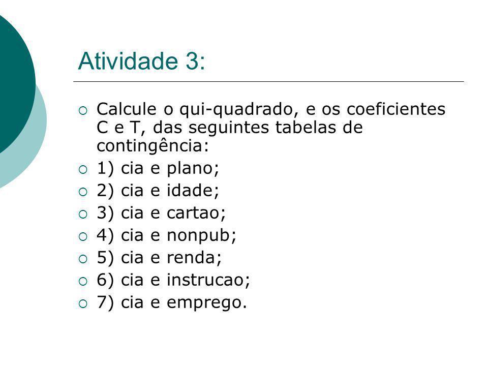 Atividade 3: Calcule o qui-quadrado, e os coeficientes C e T, das seguintes tabelas de contingência: