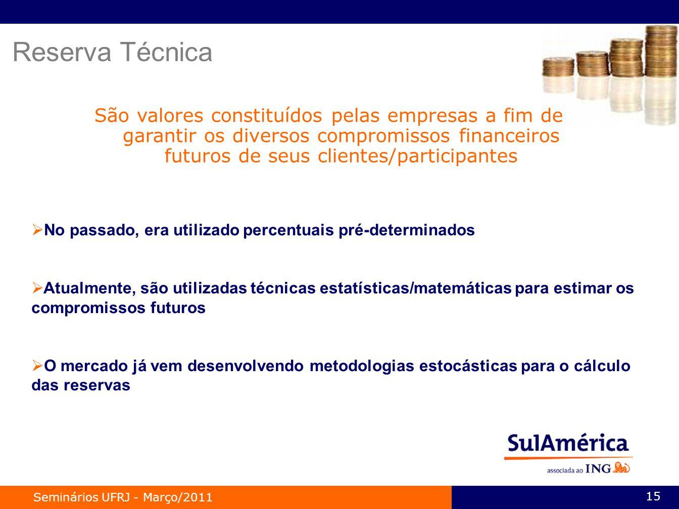 Reserva Técnica São valores constituídos pelas empresas a fim de garantir os diversos compromissos financeiros futuros de seus clientes/participantes.