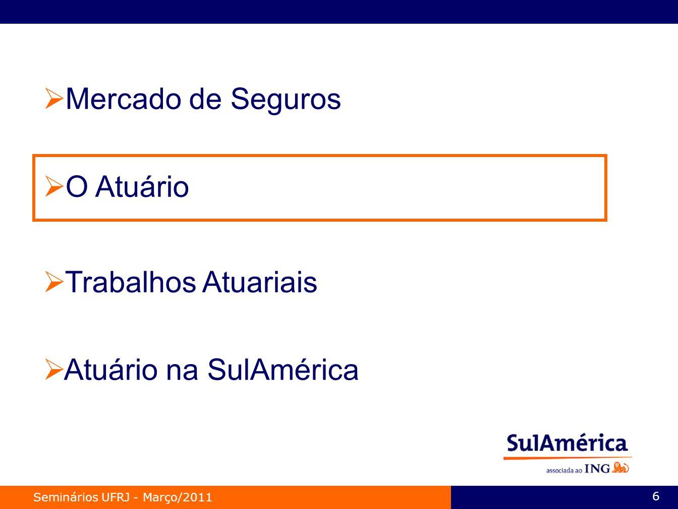 Mercado de Seguros O Atuário Trabalhos Atuariais Atuário na SulAmérica