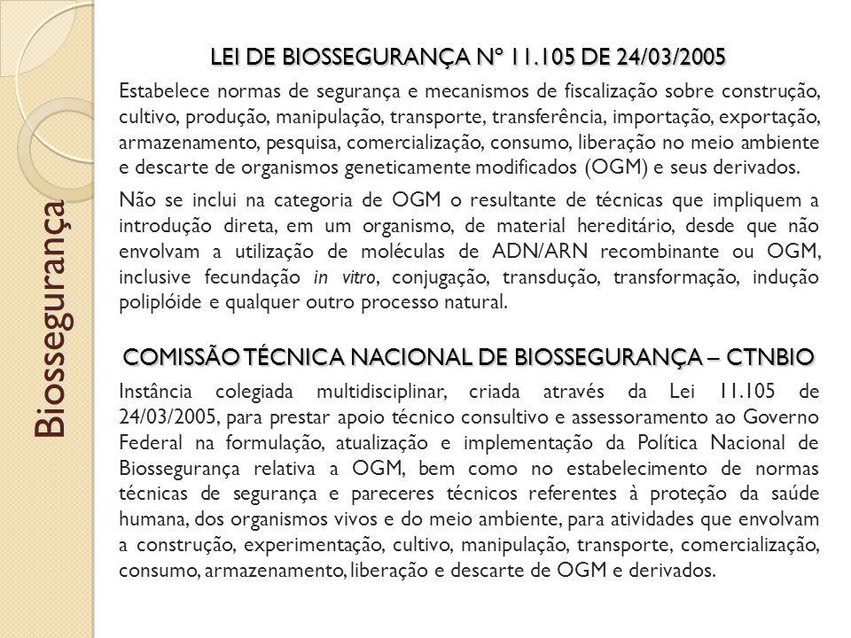 Biossegurança LEI DE BIOSSEGURANÇA Nº 11.105 DE 24/03/2005