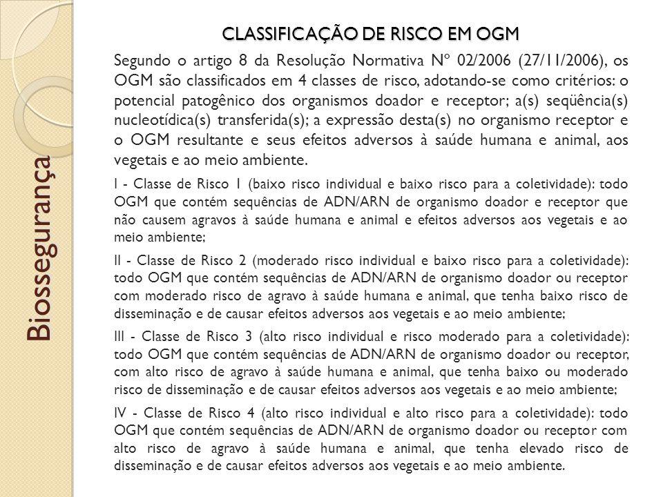 CLASSIFICAÇÃO DE RISCO EM OGM