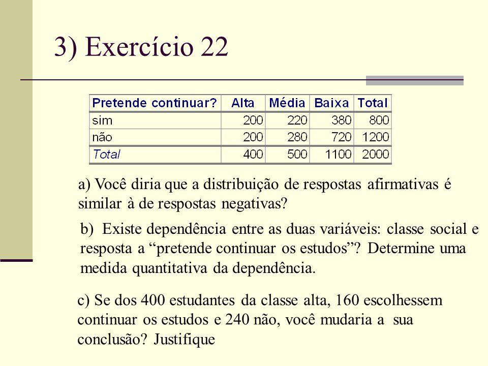 3) Exercício 22 a) Você diria que a distribuição de respostas afirmativas é. similar à de respostas negativas