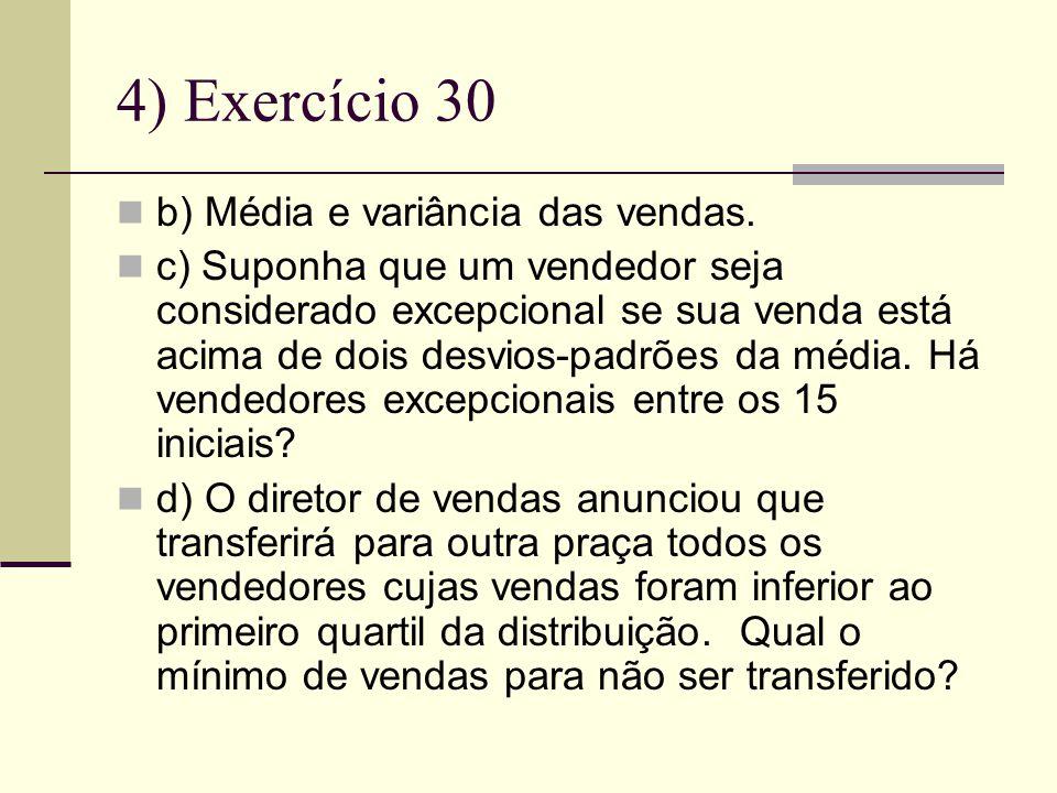 4) Exercício 30 b) Média e variância das vendas.