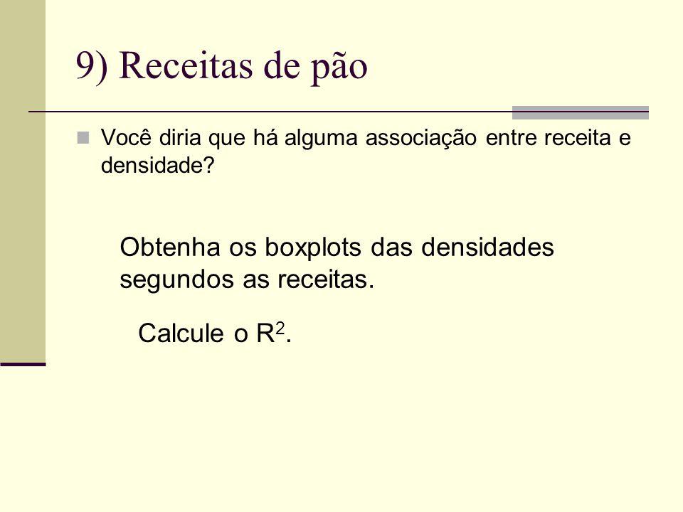 9) Receitas de pão Obtenha os boxplots das densidades
