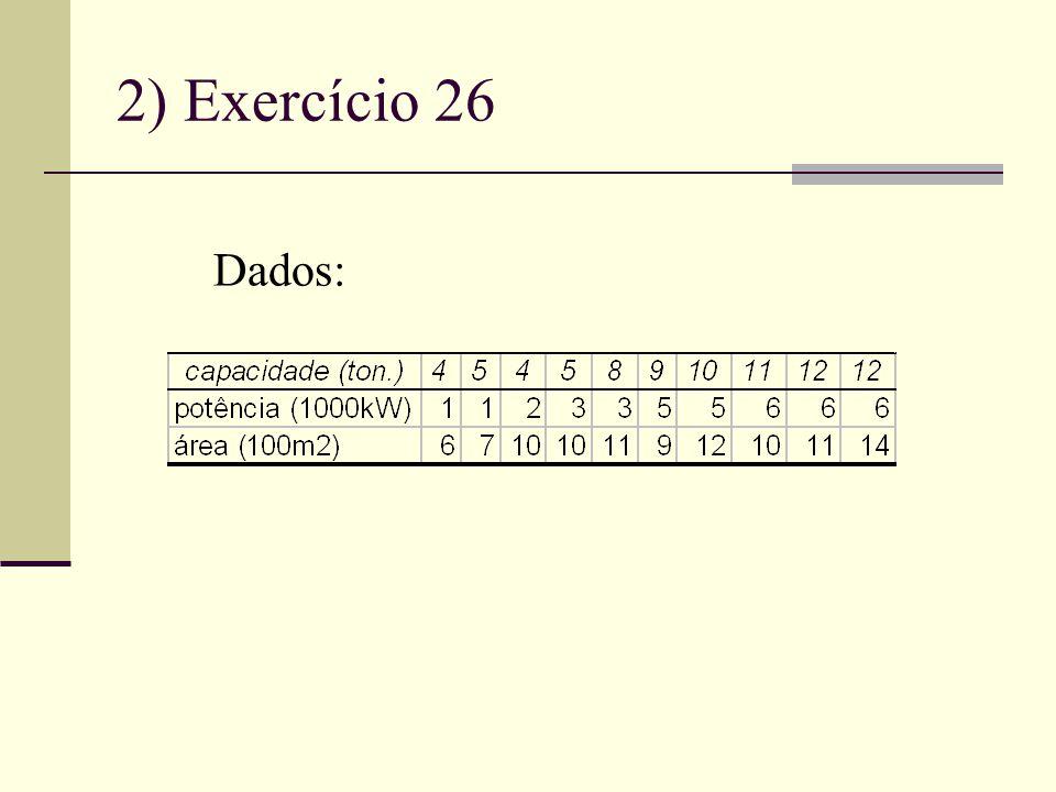 2) Exercício 26 Dados: