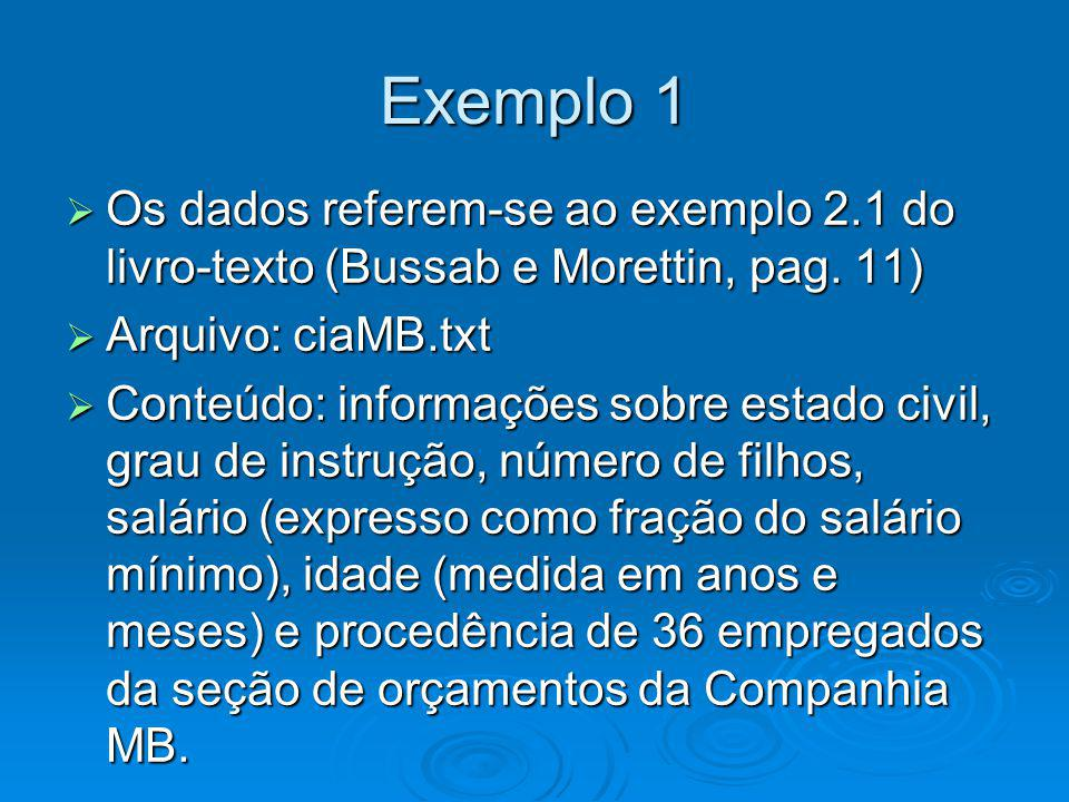 Exemplo 1 Os dados referem-se ao exemplo 2.1 do livro-texto (Bussab e Morettin, pag. 11) Arquivo: ciaMB.txt.