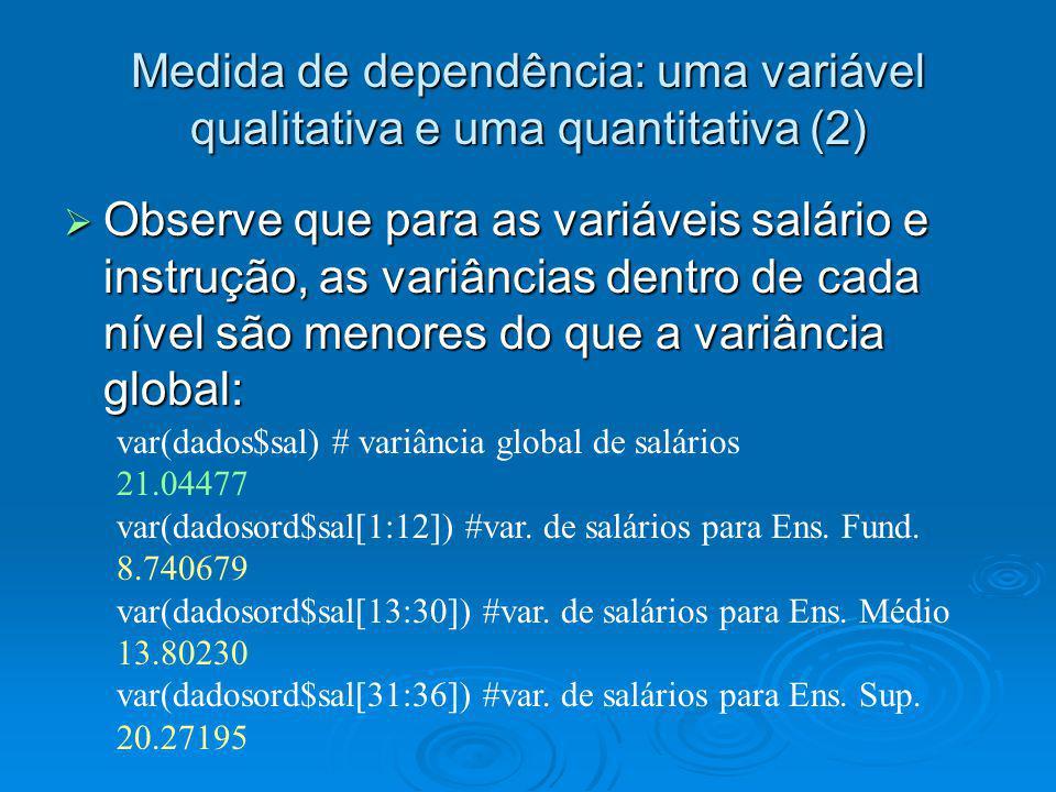 Medida de dependência: uma variável qualitativa e uma quantitativa (2)