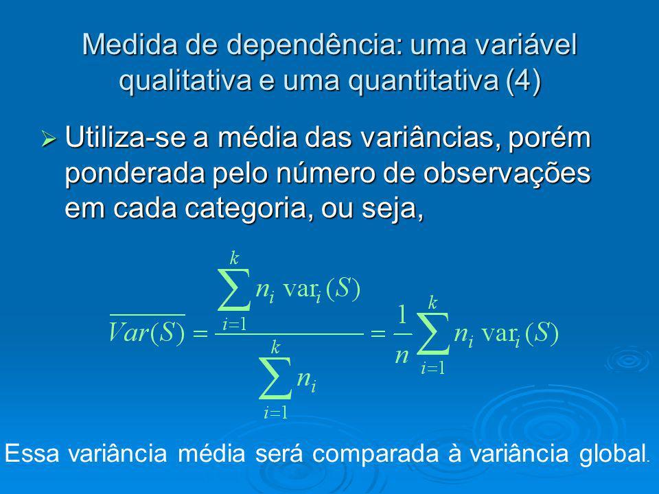 Medida de dependência: uma variável qualitativa e uma quantitativa (4)