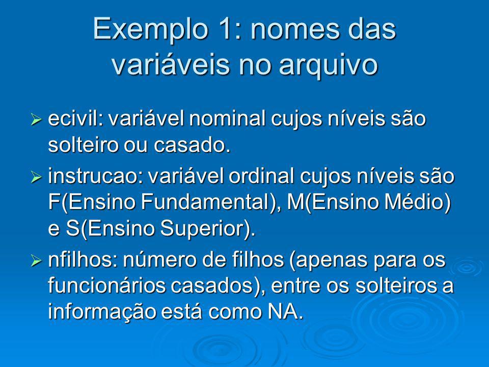Exemplo 1: nomes das variáveis no arquivo