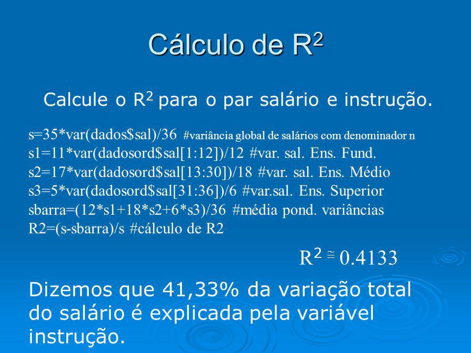 Cálculo de R2 R2  0.4133 Dizemos que 41,33% da variação total