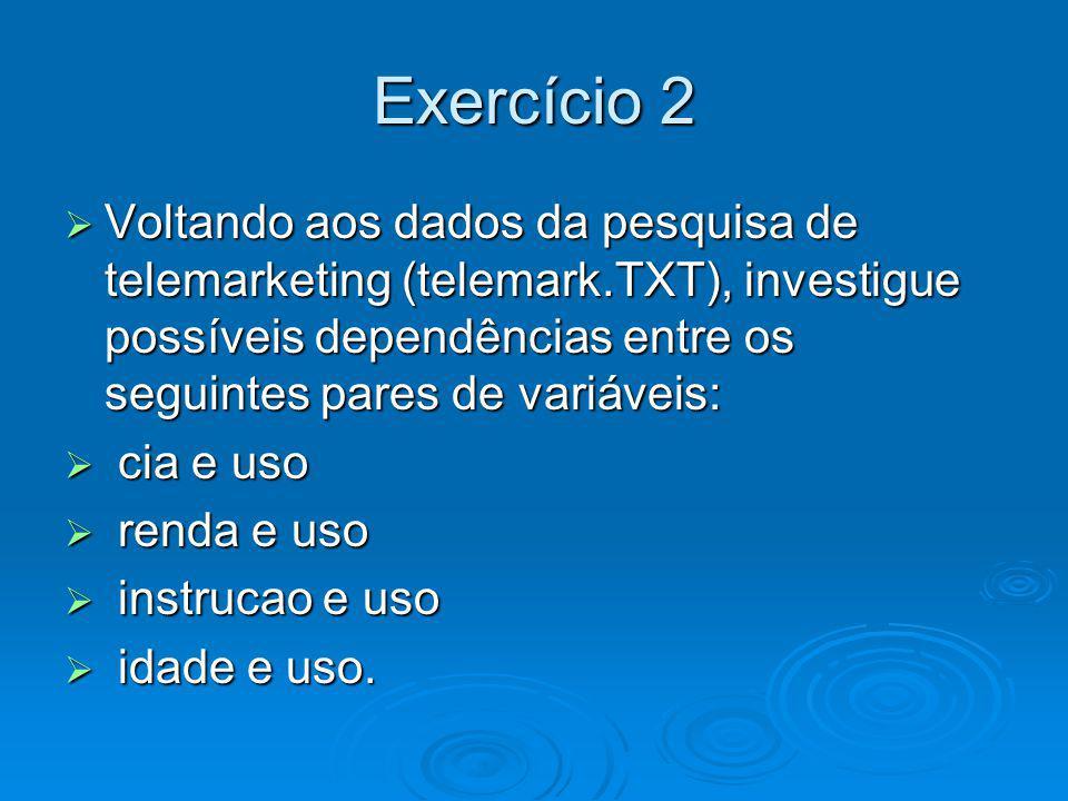 Exercício 2 Voltando aos dados da pesquisa de telemarketing (telemark.TXT), investigue possíveis dependências entre os seguintes pares de variáveis: