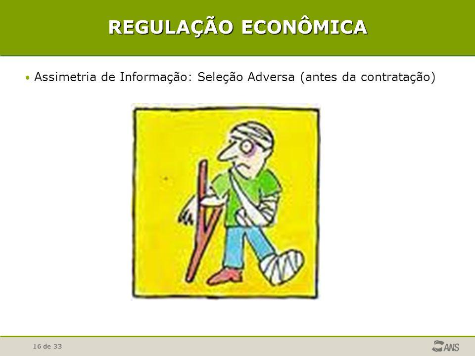 REGULAÇÃO ECONÔMICA Assimetria de Informação: Seleção Adversa (antes da contratação)