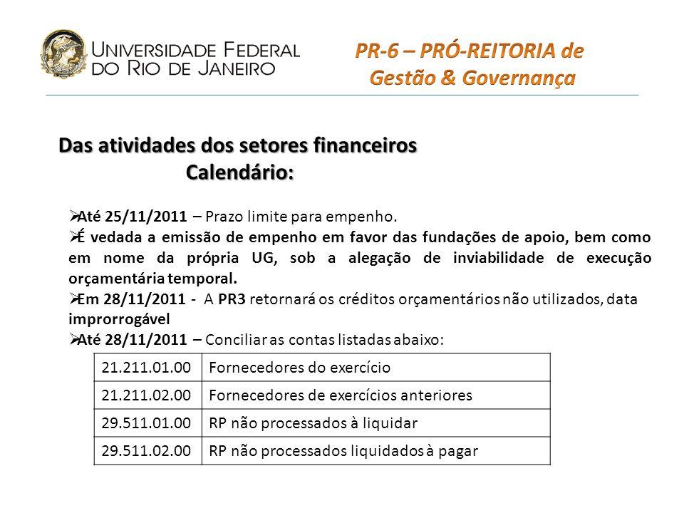 PR-6 – PRÓ-REITORIA de Gestão & Governança Calendário:
