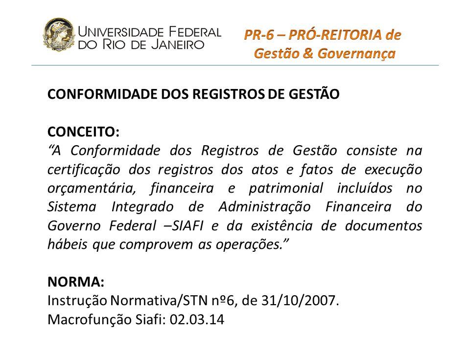 PR-6 – PRÓ-REITORIA de Gestão & Governança. CONFORMIDADE DOS REGISTROS DE GESTÃO. CONCEITO: