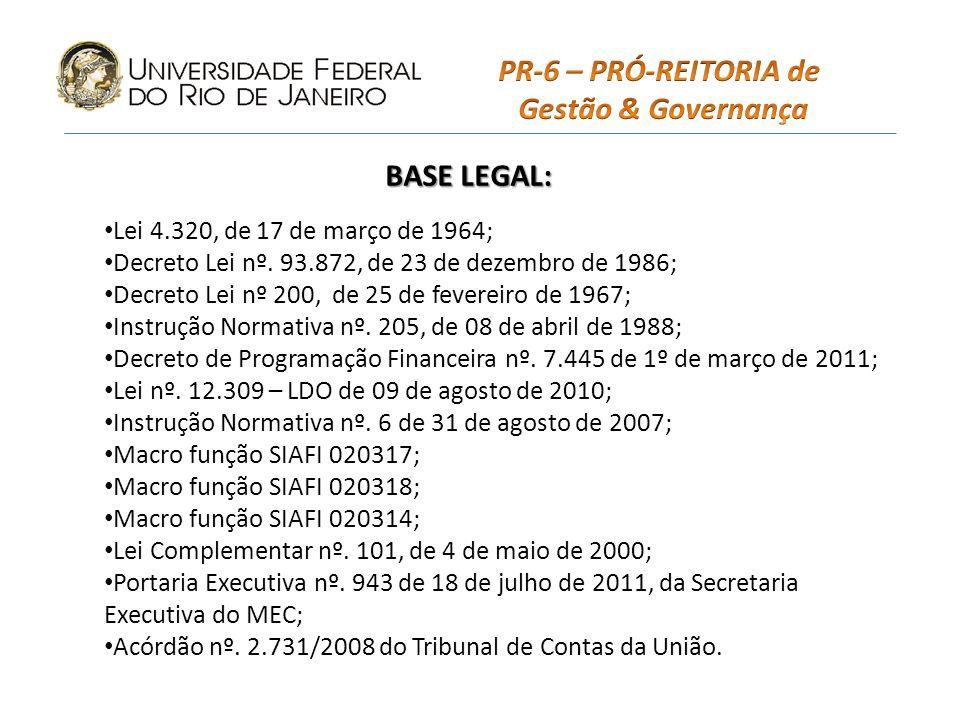 PR-6 – PRÓ-REITORIA de Gestão & Governança BASE LEGAL: