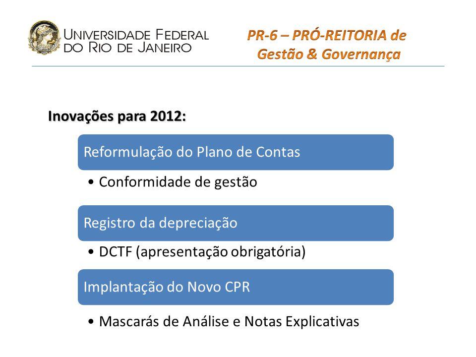 PR-6 – PRÓ-REITORIA de Gestão & Governança. Inovações para 2012: Reformulação do Plano de Contas.
