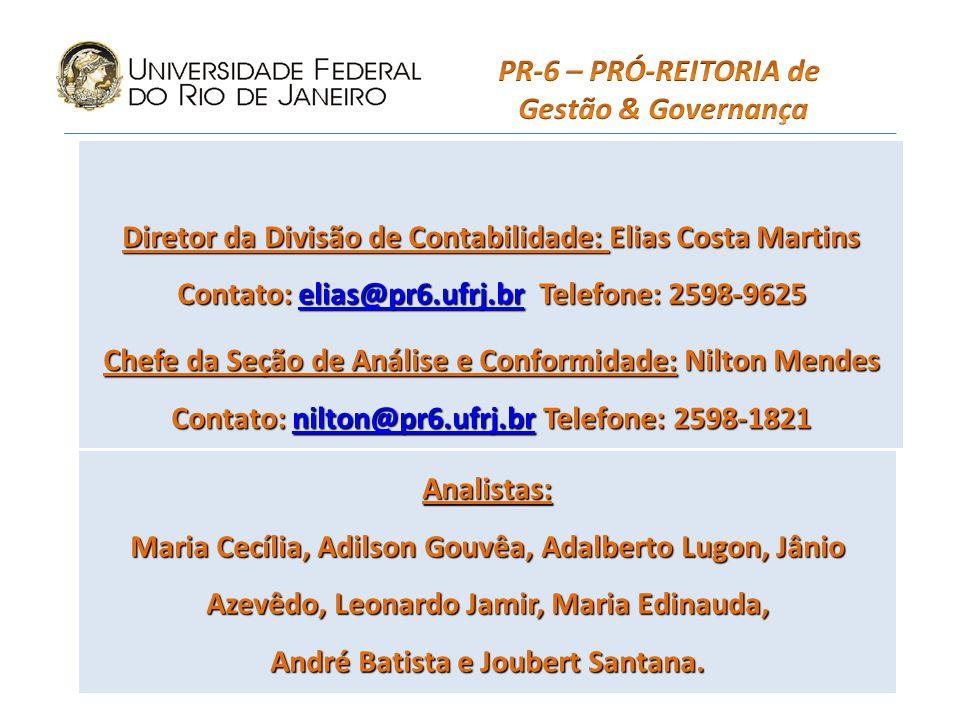 Diretor da Divisão de Contabilidade: Elias Costa Martins