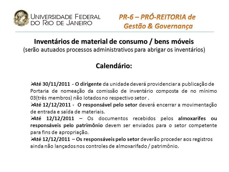 Inventários de material de consumo / bens móveis