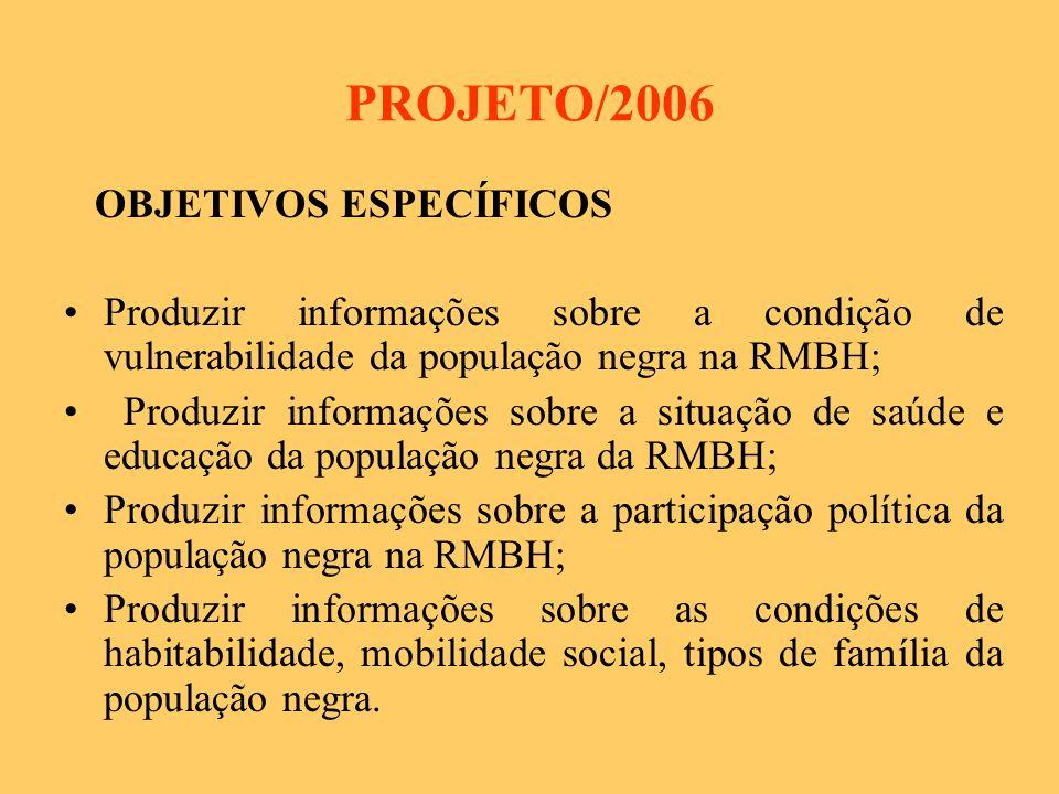 PROJETO/2006 OBJETIVOS ESPECÍFICOS