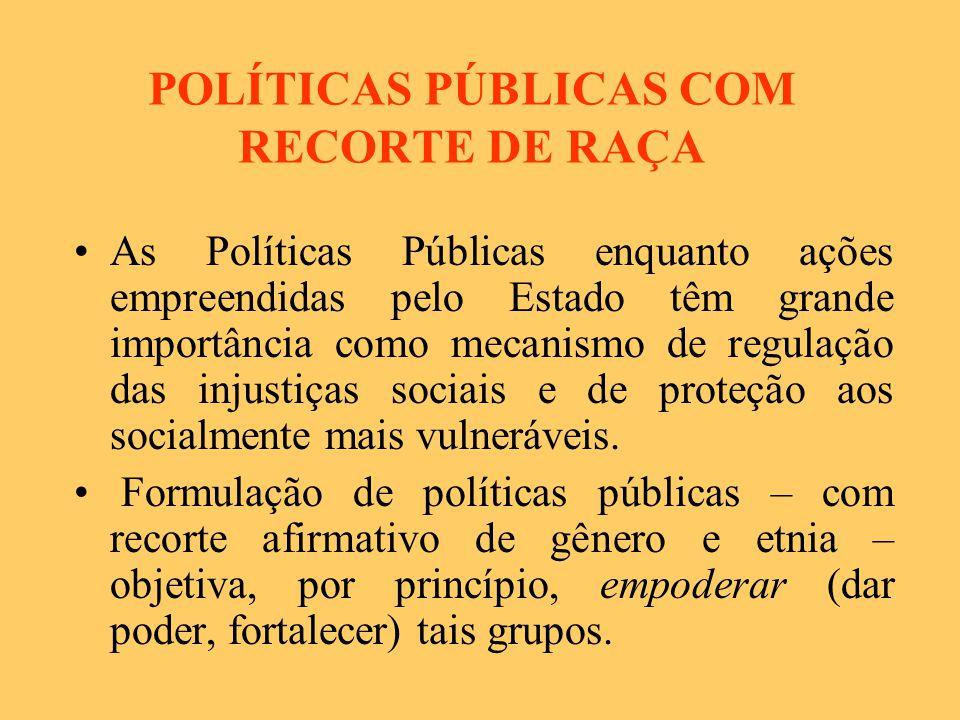 POLÍTICAS PÚBLICAS COM RECORTE DE RAÇA
