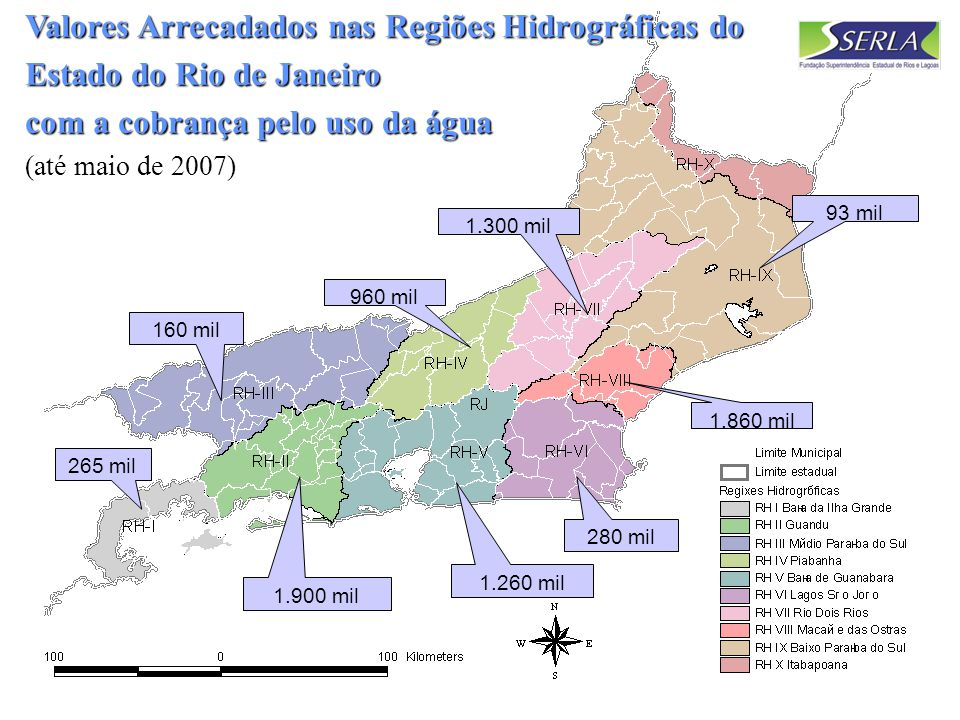 Valores Arrecadados nas Regiões Hidrográficas do Estado do Rio de Janeiro com a cobrança pelo uso da água (até maio de 2007)