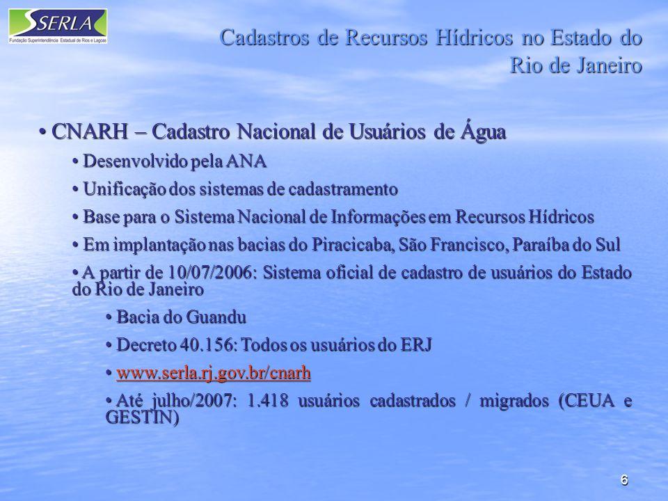 Cadastros de Recursos Hídricos no Estado do Rio de Janeiro