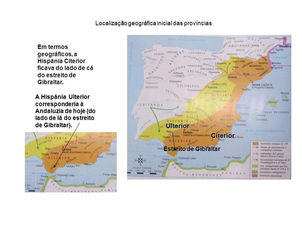Localização geográfica inicial das províncias