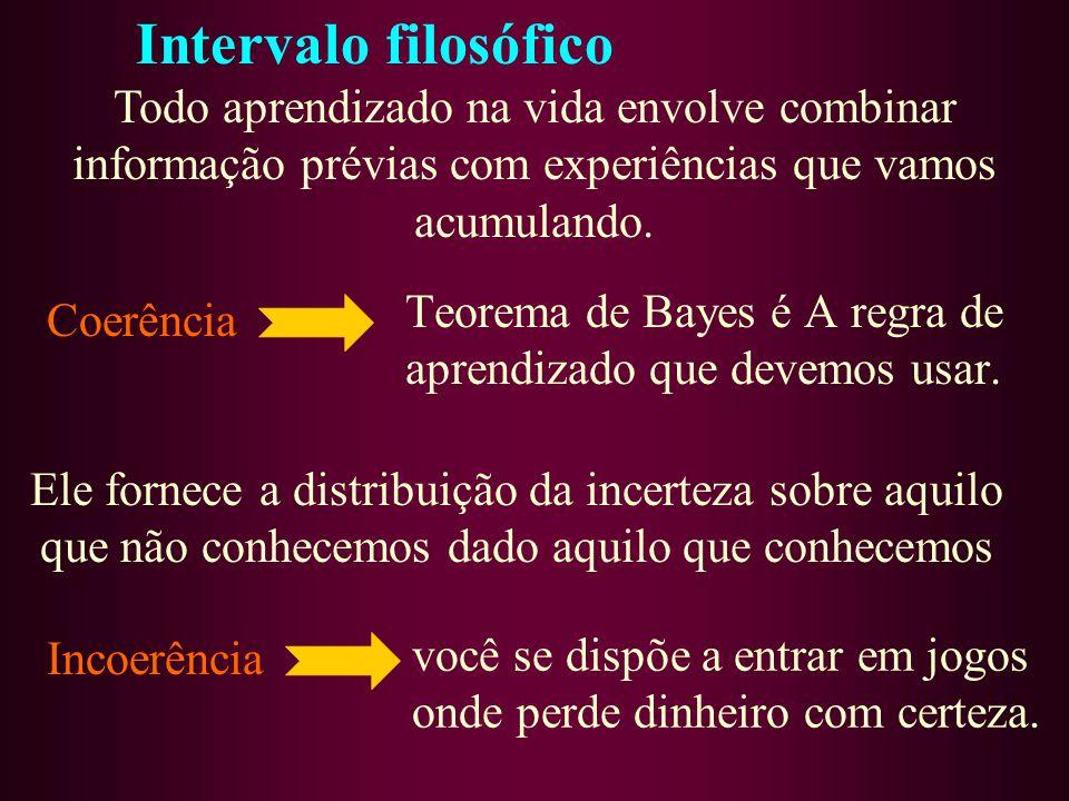 Teorema de Bayes é A regra de aprendizado que devemos usar.