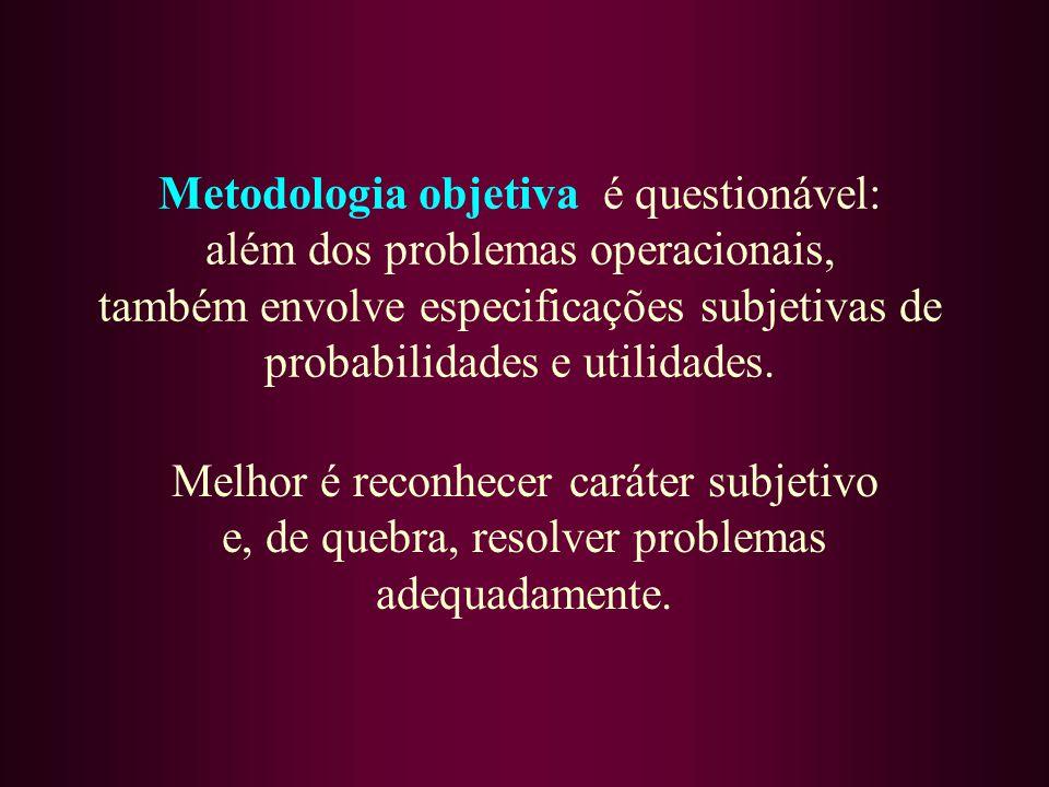 Metodologia objetiva é questionável: além dos problemas operacionais, também envolve especificações subjetivas de probabilidades e utilidades.