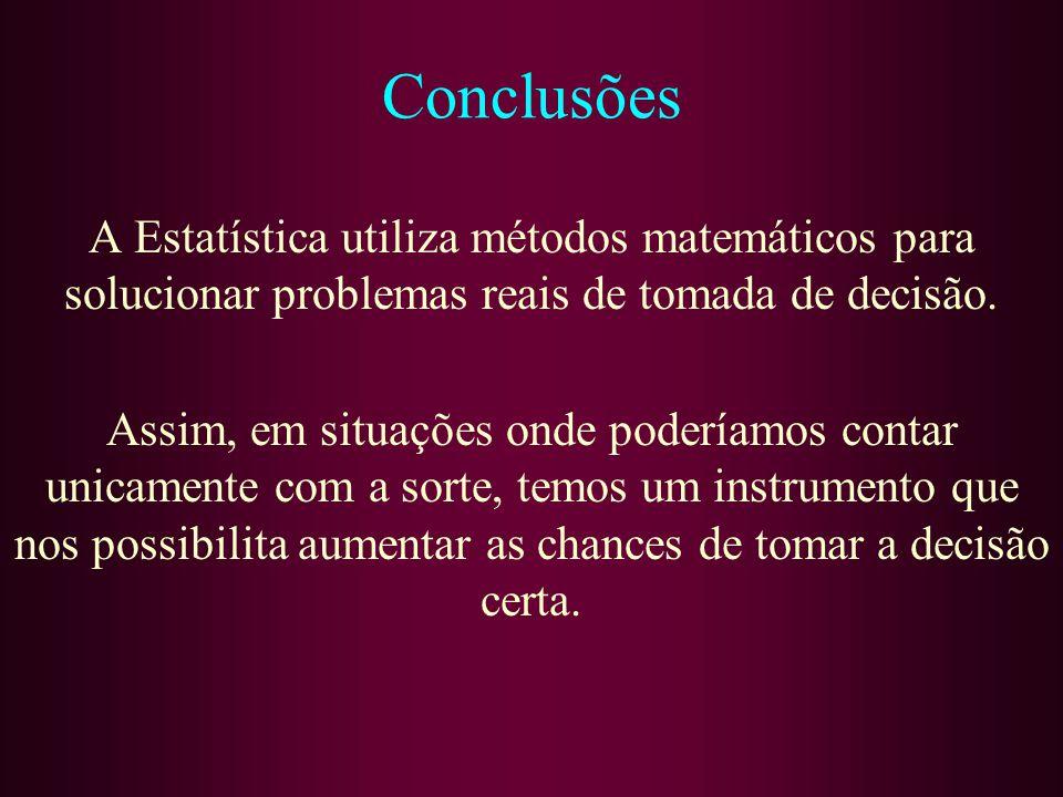 Conclusões A Estatística utiliza métodos matemáticos para solucionar problemas reais de tomada de decisão.